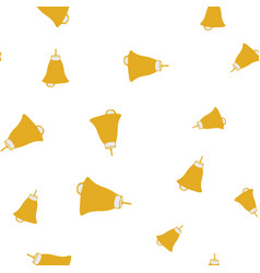 golden bells on white background seamless pattern vector image
