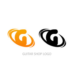 guitar shop logo vector image