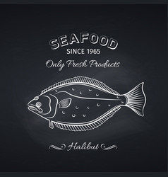 halibut hand drawn icon vector image