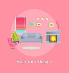 Hallroom design promo poster with modern furniture vector