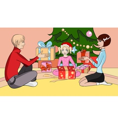 happy christmas family vector image