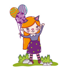 Happy girl with kitten costume and balloons vector