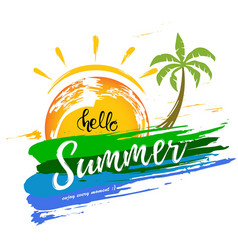 hello summer with a brush strokes and palm vector image