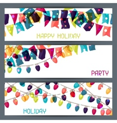 Holiday colorful horizontal banners with flags and vector