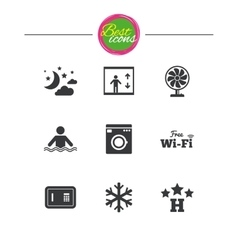 Hotel apartment service icons Wifi internet vector