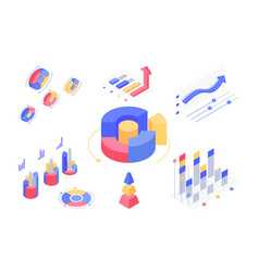 Isometric 3d charts and statistics with set vector