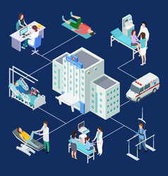 isometric multidisciplinary hospital vector image
