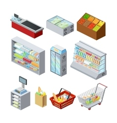 Isometric Supermarket Icons Set vector