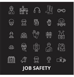 job safety editable line icons set on black vector image