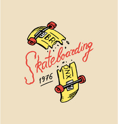label for skateboarding urban longboard vector image