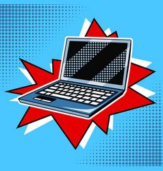 Laptop comic book style vector
