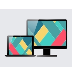 Laptop monitor set vector image