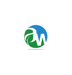 letter a w logo template vector image