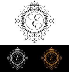 Letter E Luxury Logo template flourishes vector