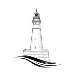 lighthouse logo hand drawn sketch symbol of vector image