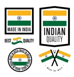 Made in india label set vector