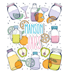 Mason jars drawing vector