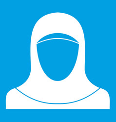 Muslim women wearing hijab icon white vector