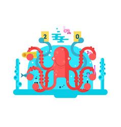 octopus character design flat vector image