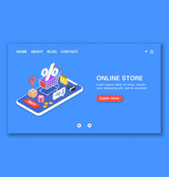 Online store concept 24-hour support discounts vector