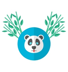 panda and bamboo in flat style vector image