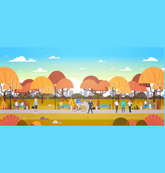 People relaxing outdoors in autumn urban park over vector