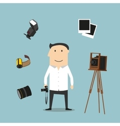 Photographer and photography devices vector
