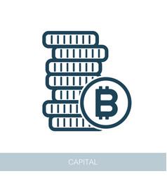 Pile of bitcoin coins icon vector