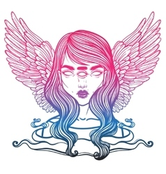 Portrait of mystic angel or demon of death in the vector image vector image