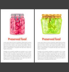 Preserved food poster lime or lemon sweet cherries vector
