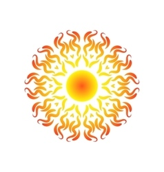 Red orange sun icon mandala isolated on white vector