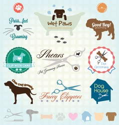 Retro Pet Grooming Labels and Icons vector image