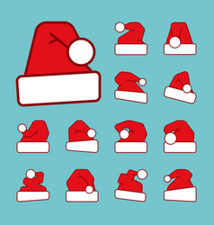 santa hat outline with red color fill icon set vector image