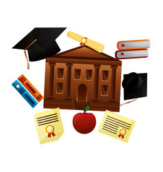 school building with set education icons vector image