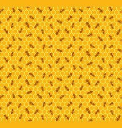 Seamless background with bees vector