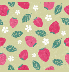 Seamless pattern strawberry leaves fruits flowers vector