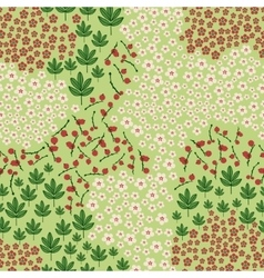 Seamless pattern with wildflowers leaves and vector