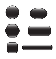 Set of black square and rounded button vector