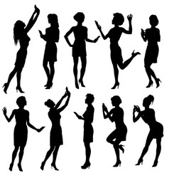 set of woman silhouettes vector image