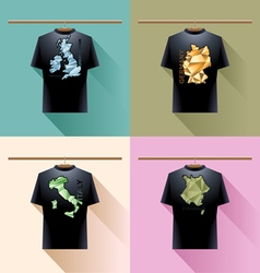 Shirt collection set with colored logo with triang vector