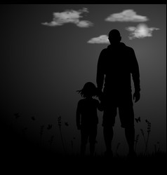 silhouette of a family comprising father and vector image