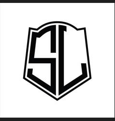 Sl logo monogram with shield shape outline design vector
