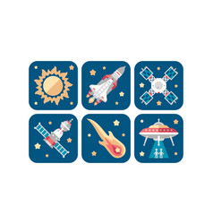 Space icons set sun meteorite rocket satellite vector