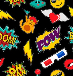 Stitching patches retro pop icons seamless pattern vector