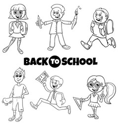students children back to school cartoon color vector image