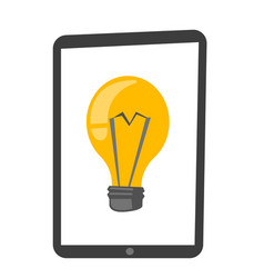 tablet computer with lightbulb cartoon vector image