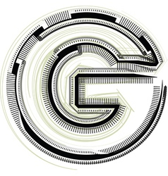 Technological font LETTER G vector