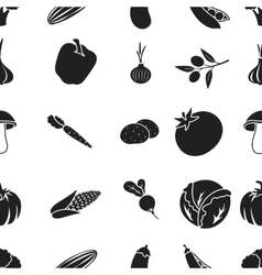 Vegetables pattern icons in black style Big vector image