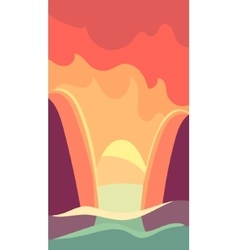 Vertical landscape river at dawn vector