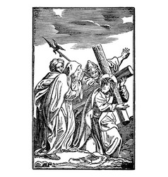 Vintage antique religious biblical drawing or vector